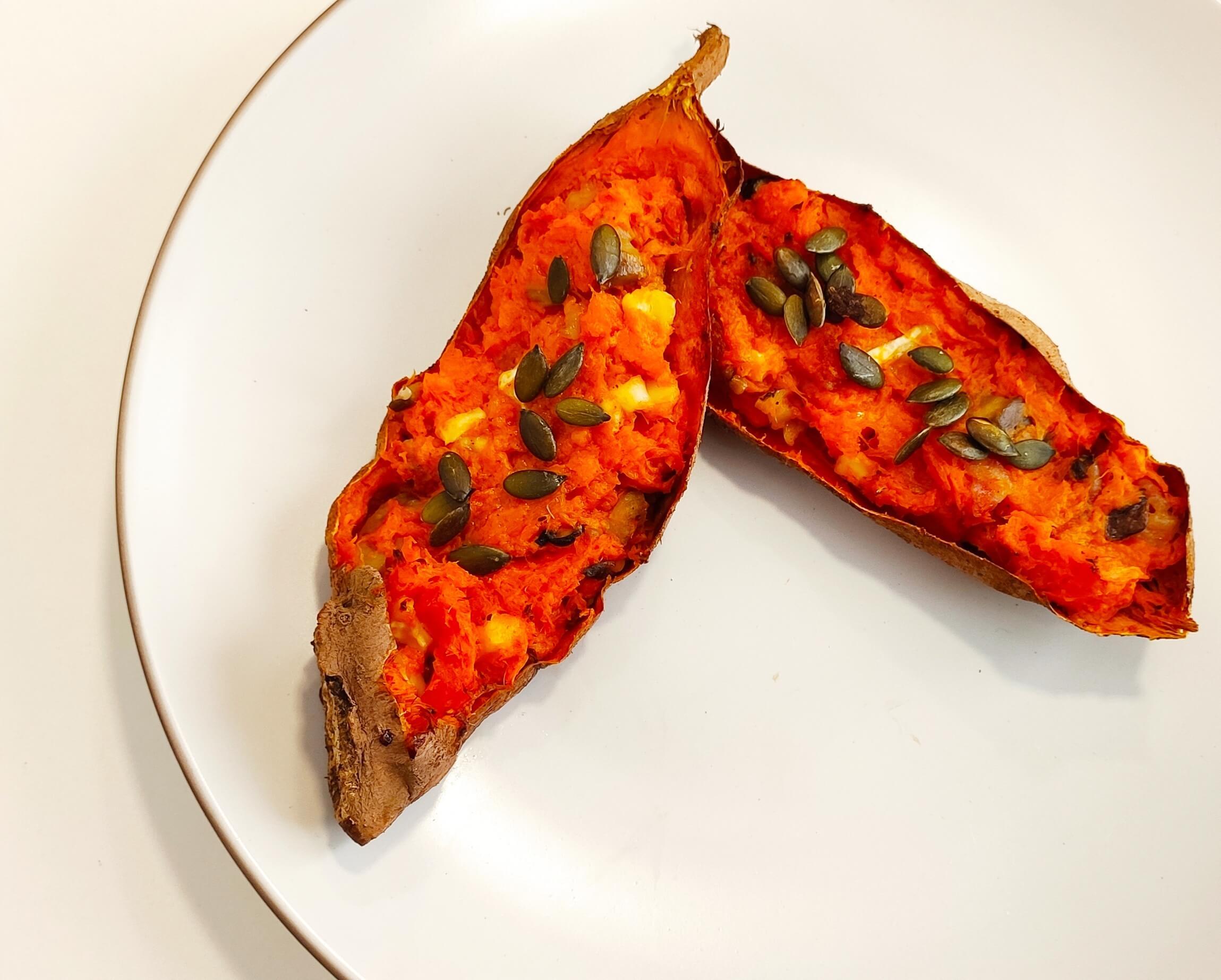 Boniato relleno de verduras