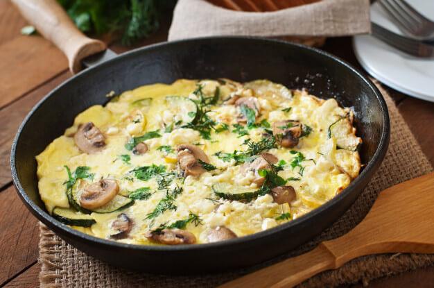 Tortilla col kale y champiñones